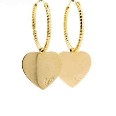 LILLY LILLY Oorbellen | Creole Hammered Love Heart | Gold | 18 Karaats