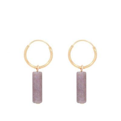 MIAB Jewels MIAB Oorbellen | Goud | Tube Jasper Purple  | 14k Goud Vermeil