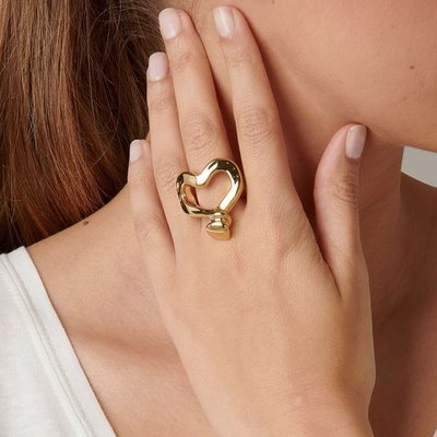 UNOde50 UNOde50  Ring | NAILED HEART | Goud Hart | ANI0265ORO000
