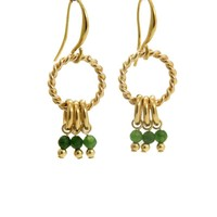 LILLY LILLY Oorbellen |  Twisted Ring Bunch | Gold | Jade | 18 Karaats