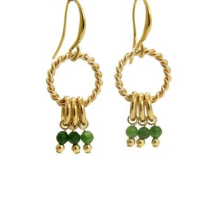LILLY LILLY Oorbellen |  Twisted Ring Bunch | Verguld | Jade