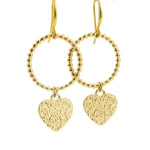 LILLY LILLY Oorbellen |  Ring Balls Tumbled Heart | Gold | 18 Karaats
