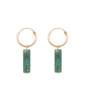 MIAB Jewels MIAB Oorbellen | Rose Goud | Tube Jasper Green