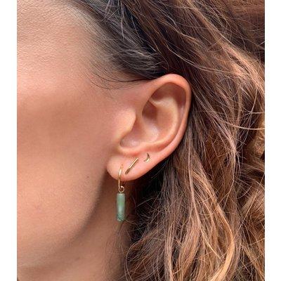 MIAB Jewels MIAB Oorbellen | Rose Goud | Tube Jasper Green | 14k Goud Vermeil