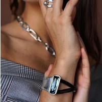 UNOde50 UNOde50 Armband | AURORA BOREALIS | ZILVER | GREEN CRYSTAL