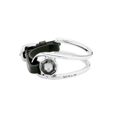 UNOde50 UNOde50 Armband | ON MY OWN | GRIJS  KRISTAL LEER | PUL1965NGRMTL0M