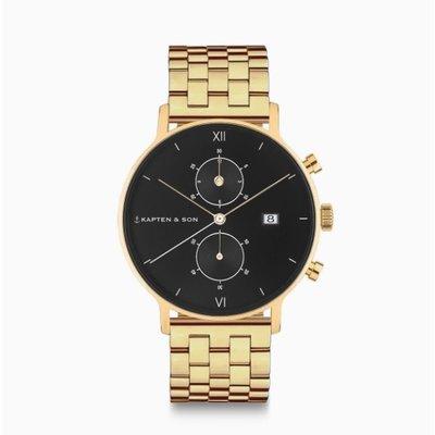 KAPTEN & SON KAPTEN & SON Horloge | CHRONO | GOLD BLACK STEEL | 40 MM