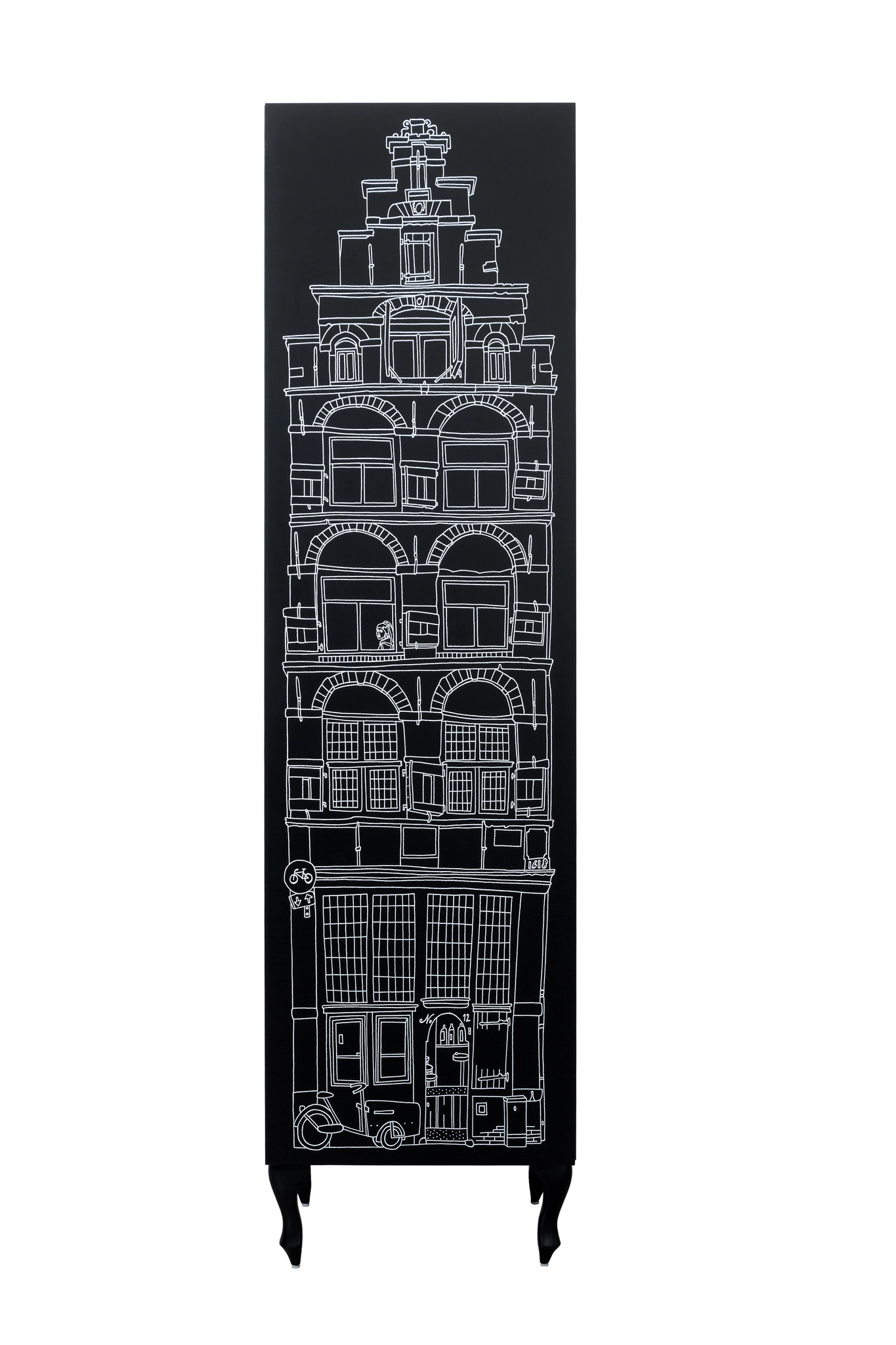 Schrank Amsterdam Print Stufengiebel/Treppengiebel-1