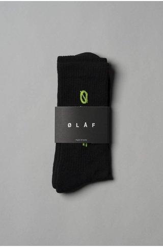 OLAF HUSSEIN ITALIC SOCKS NEON BLACK