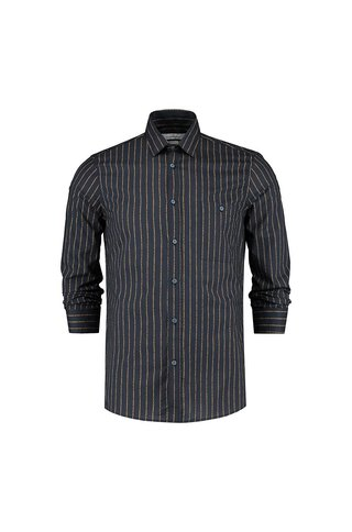 THE GOODPEOPLE NICOTINE STRIPE PRINT SHIRT