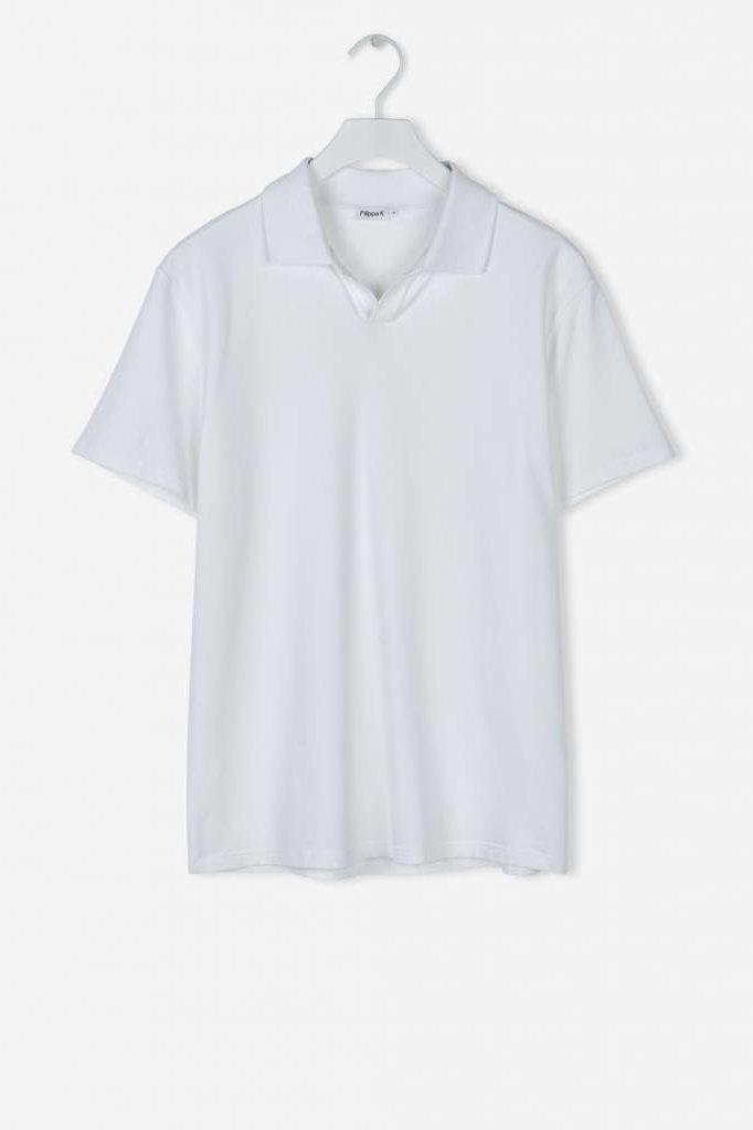 filippa k  SOFT LYCRA POLO T-SHIRT WHITE