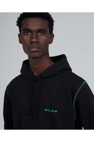 OLAF HUSSEIN ITALIC HOODIE BLACK/GREEN