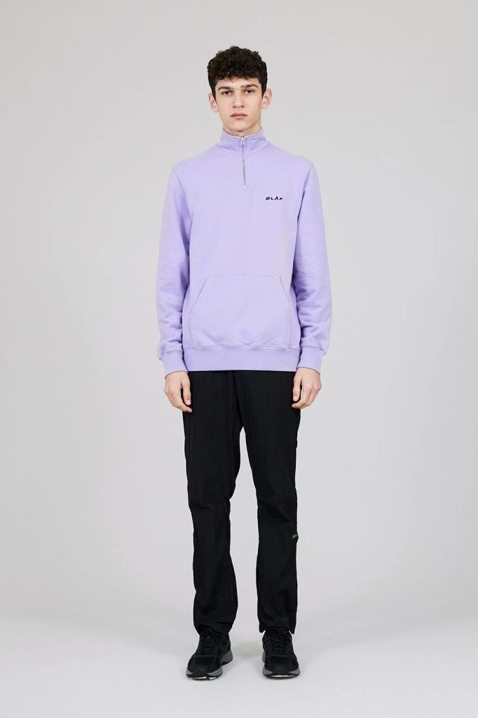 OLAF HUSSEIN ZIP MOCK SWEAT PURPLE