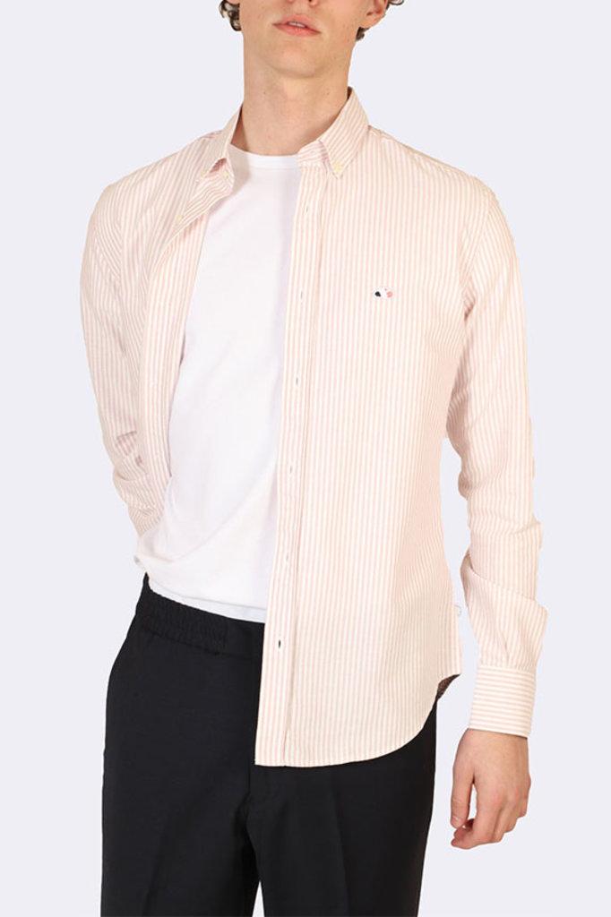 the goodpeople aloni shirt pink white stripe