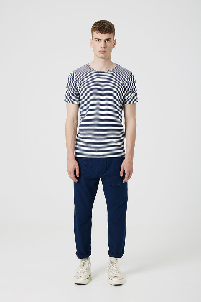 Denham ruff neck crew tee navy stripes