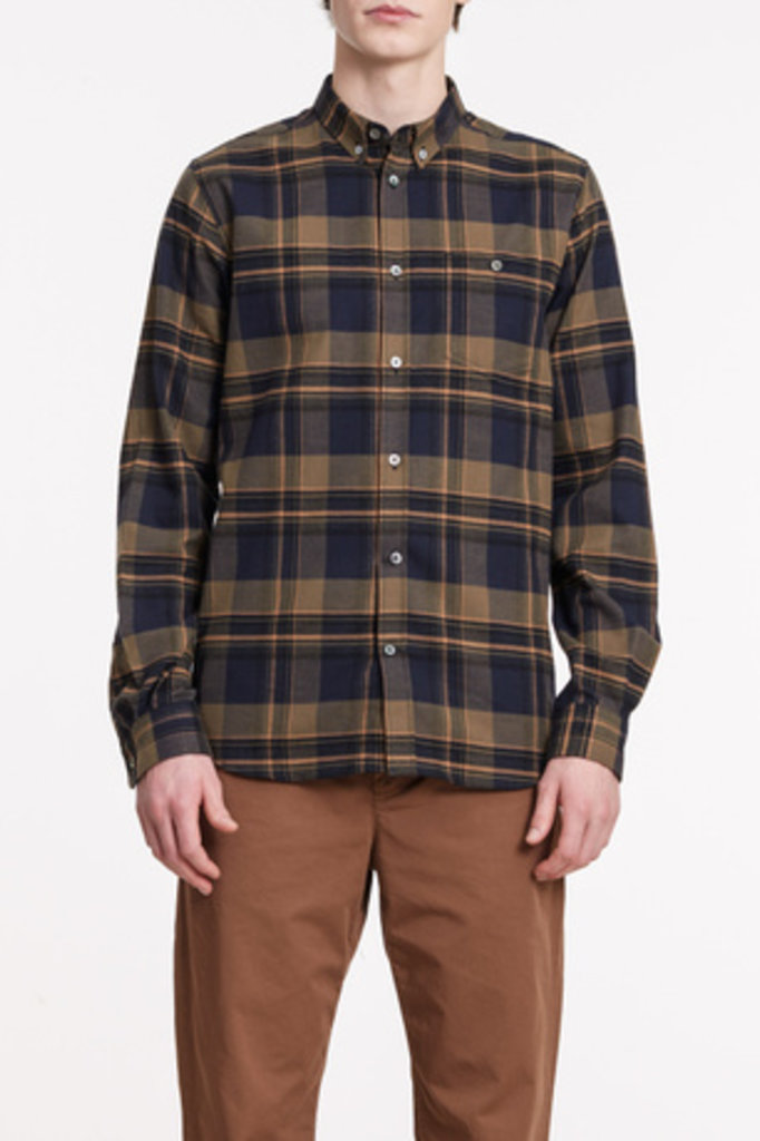 Norse Projects Anton Brushed Flannel Check - Ivy Green 8098