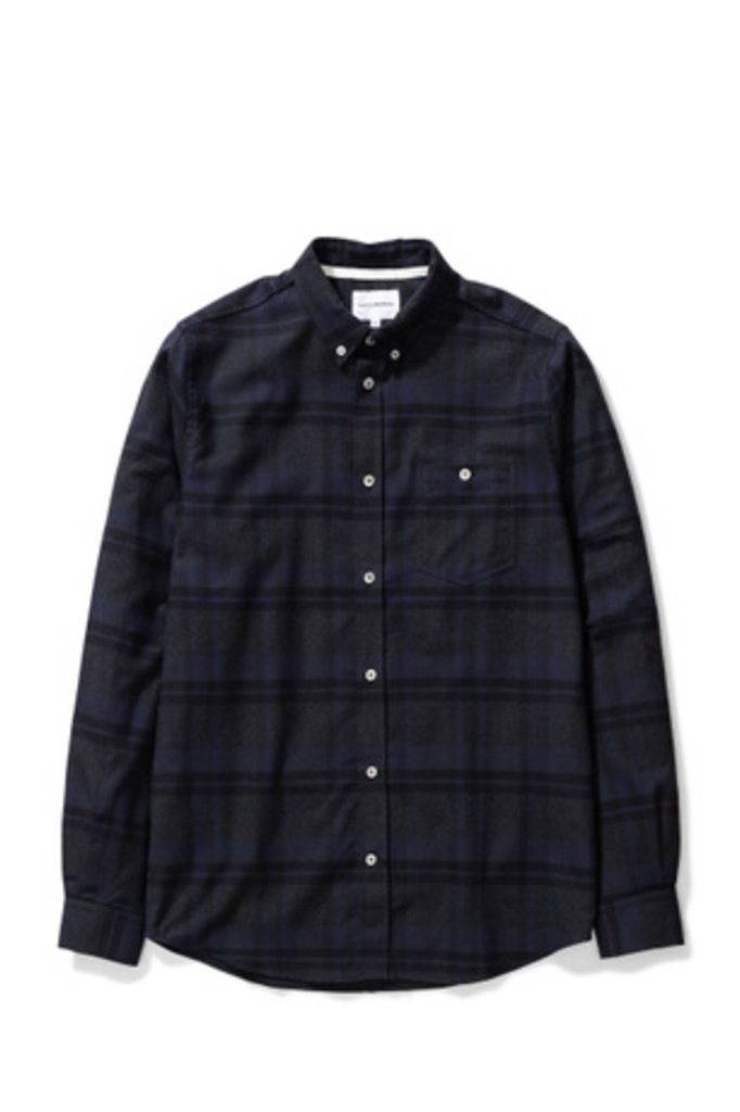 Norse Projects Anton Brushed Flannel Check - Dark Navy 7004