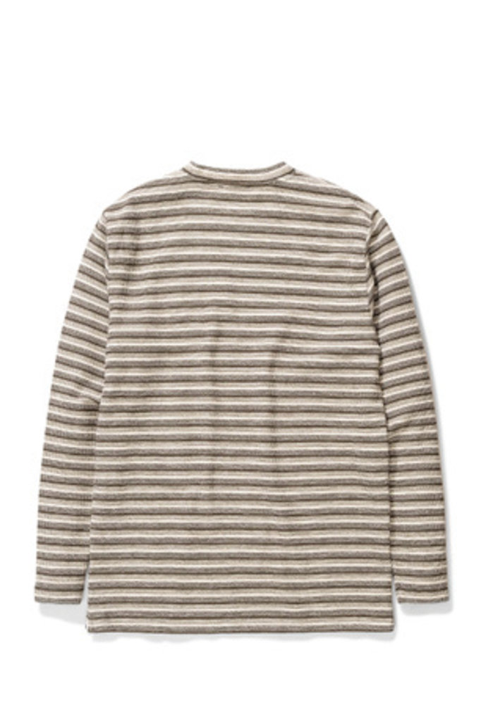 Norse Projects Johannes Texture Stripe LS - Ivy Green 8098