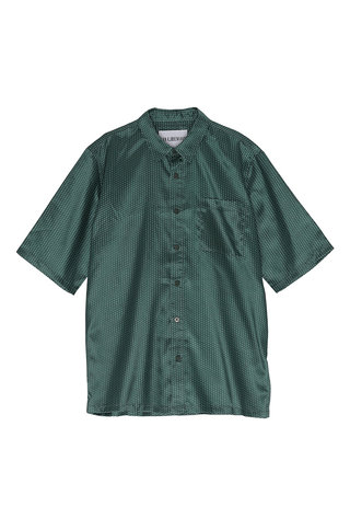 s han boxy shirt - green dot satin