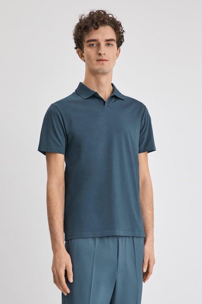 filippa k lycra ss polo tshirt - blue grey