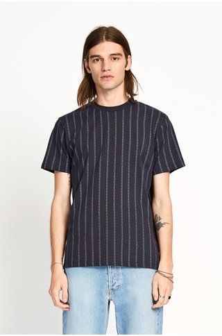 won hundred troy logo tshirt - night sky stripe