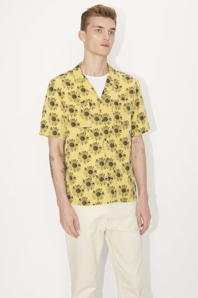 tiger of sweden calumn print shirt - yellow black