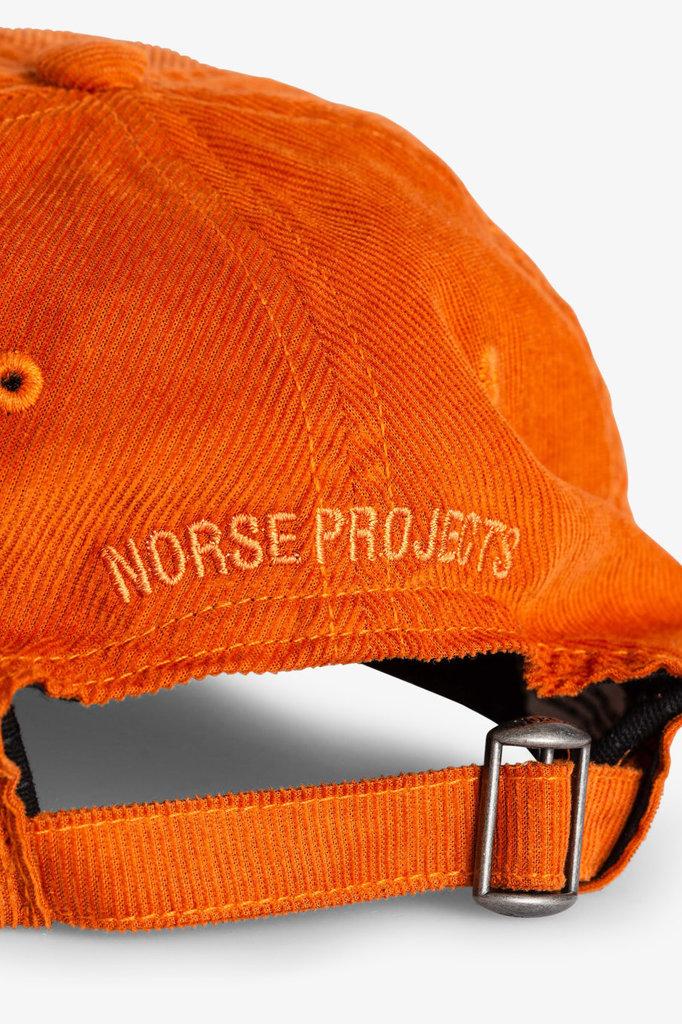 norse project baby corduroy sports cap - cadmium orange