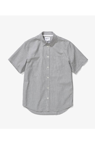 norse project osvald seersucker shirt - dark navy
