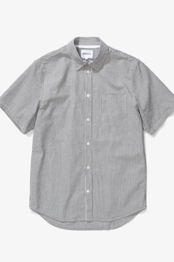 norse project osvald seersucker shirt - dark navy