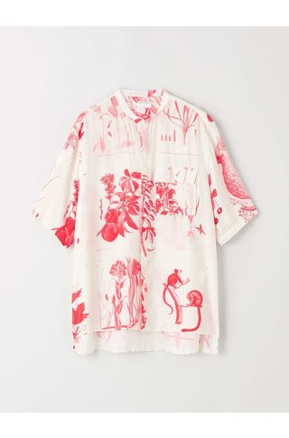 tiger of sweden lacteus print shirt - off white pink