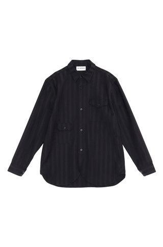 army shirt woven stripe - black