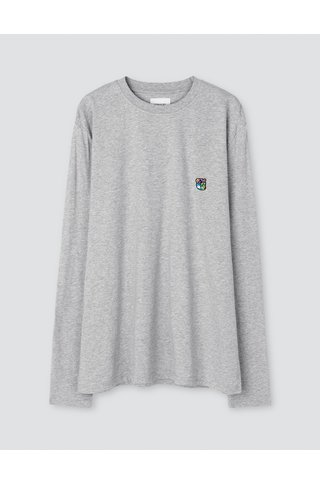 tonsure david ls t-shirt - grey mel