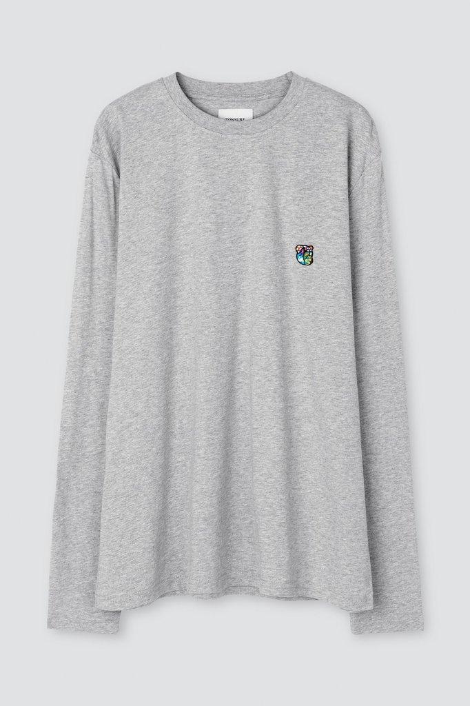 tonsure david ls t-shirt - grey mel