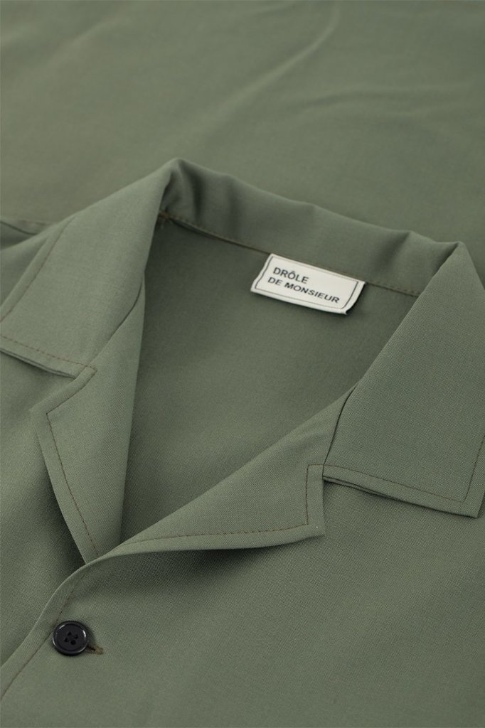 drôle de monsieur wool utility overshirt - kaki
