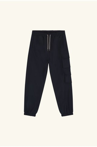 drôle de monsieur wool cuffed cargo pants - navy