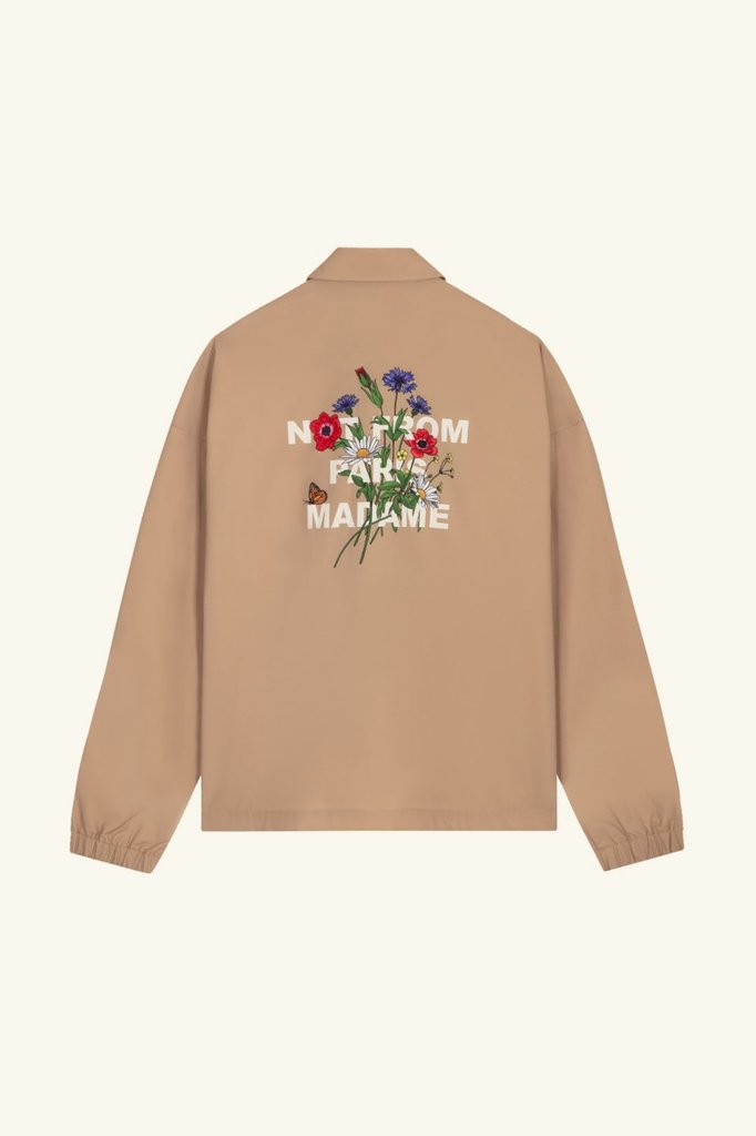 drôle de monsieur flower slogan jacket - beige