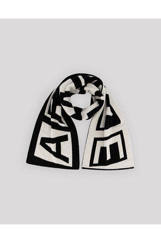 arte aron double logo scarf - black white