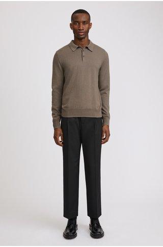 filippa k knitted polo shirt - dark taupe