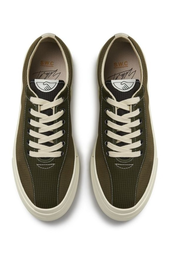 stepney workers club dellow mini check nylon sneaker - olive