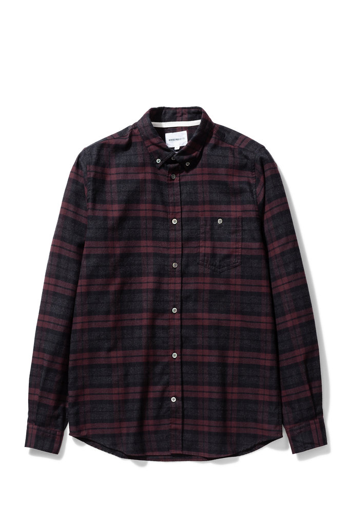 norse project anton brushed flannel check shirt - eggplant brown