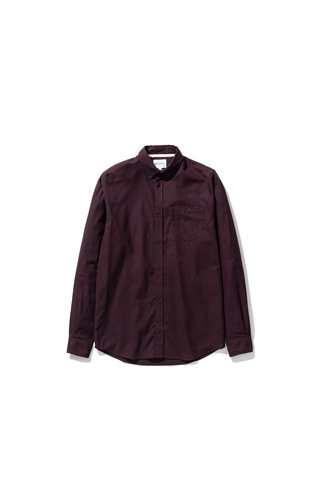 norse project anton brushed flannel shirt - eggplant brown