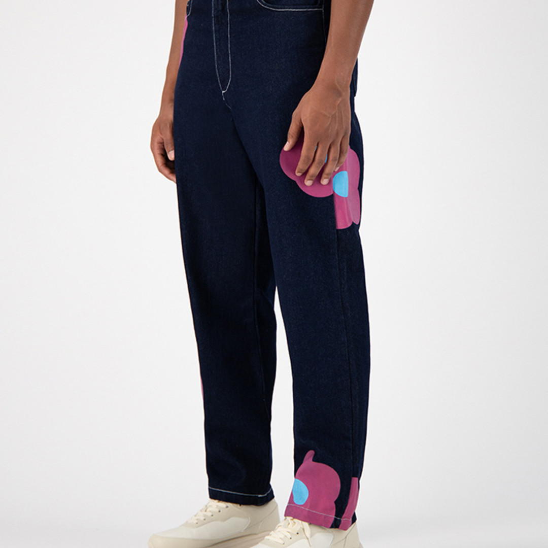 arte penny denim rosa pants - navy pink