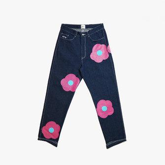 arte penny denim rosa pants - navy pink