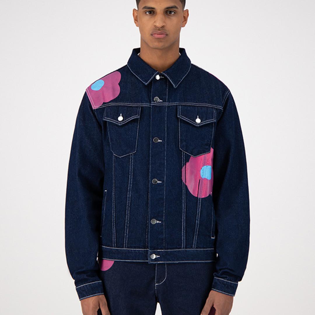arte josh denim rosa jacket - navy pink