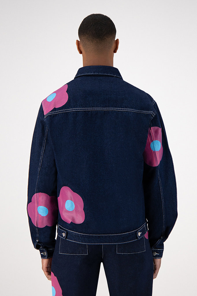 arte josh denim rosa jacket - navy pink