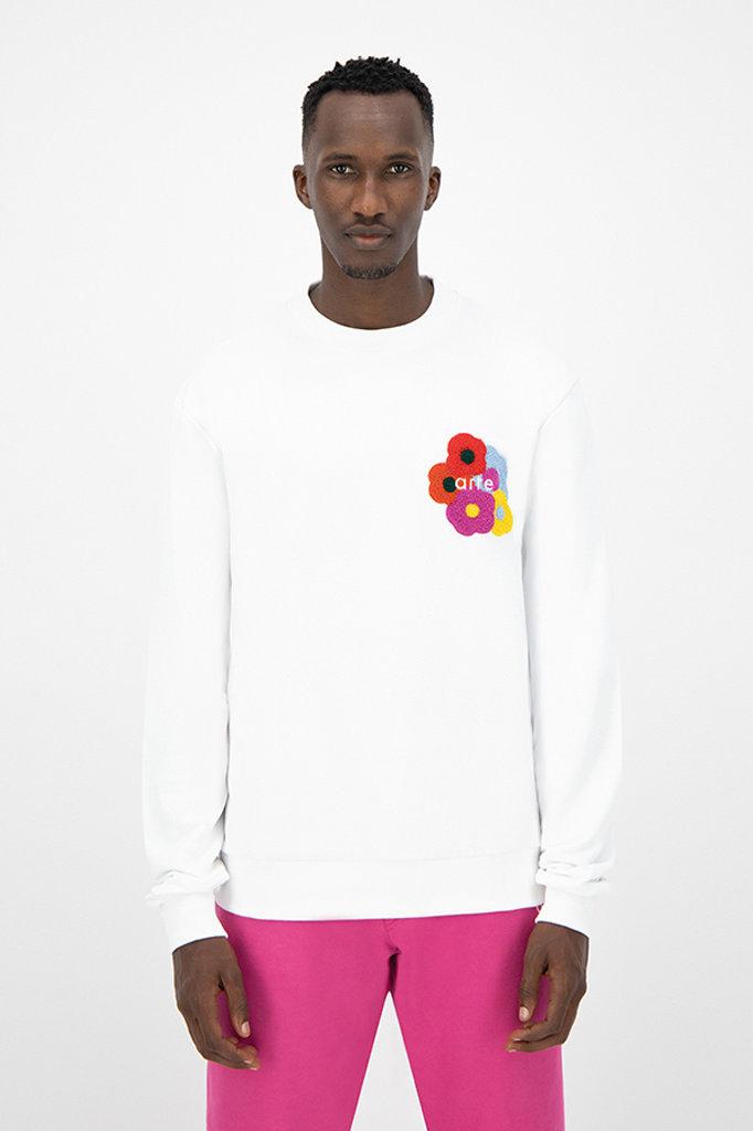 arte colson multi flower sweat - white