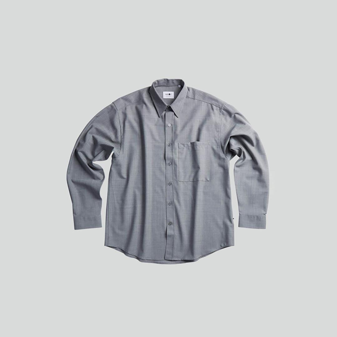 nn07 arthur 1228 overshirt - grey melange
