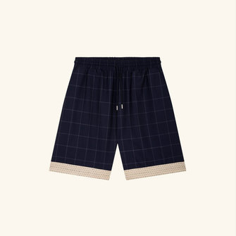 drôle de monsieur wool check short - navy