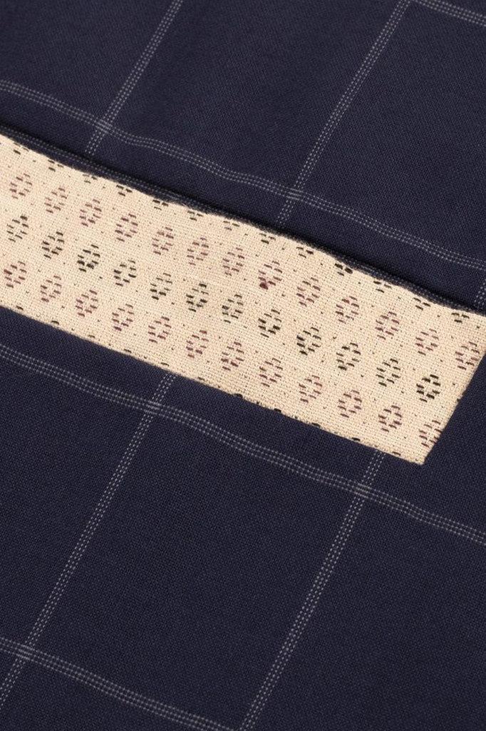 drôle de monsieur check wool knit shirt - navy