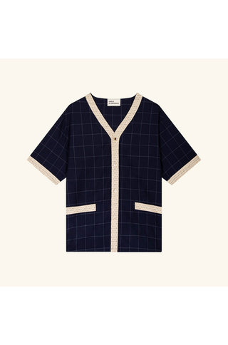 drôle de monsieur check wool knit shirt - navy